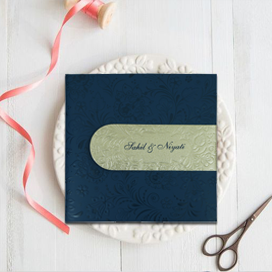 BLUE MATTE BOX THEMED - EMBOSSED WEDDING INVITATION : CD-1799