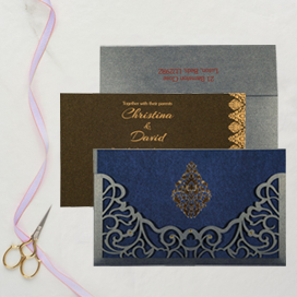 BLUE SHIMMERY DAMASK THEMED - LASER CUT WEDDING CARD : CIN-8262E