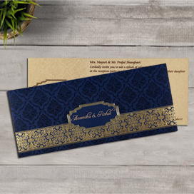 BLUE SHIMMERY FOIL STAMPED WEDDING INVITATION : CD-1718