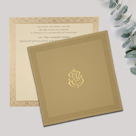 KHAKI MATTE FOIL STAMPED WEDDING INVITATION : CW-2300