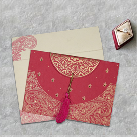 PINK HANDMADE COTTON EMBOSSED WEDDING CARD : CD-8234I