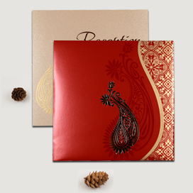 RED SHIMMERY PAISLEY THEMED - FOIL STAMPED WEDDING INVITATION : CW-1742